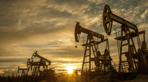 Mining crude oil with oil pumps