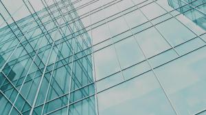 Corporate bank modern glass building