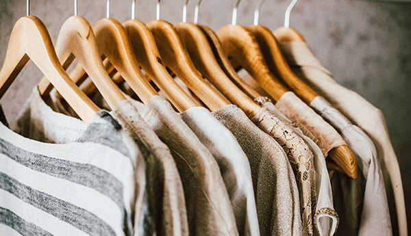 Clothes on rack in retail store