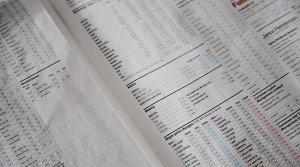 Stocks and share market newspaper